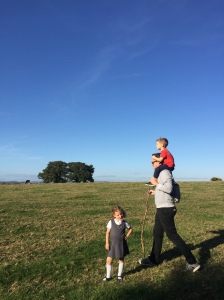 walking in somerset countryside with kids. Far from Hollywood
